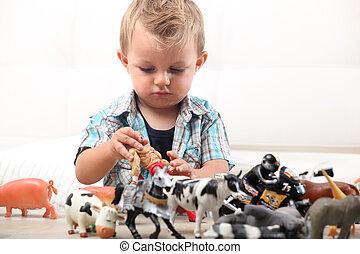 男の子, わずかしか, 遊び, おもちゃ