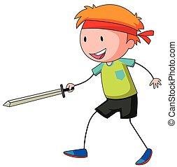 男の子, わずかしか, 遊び, swordfight