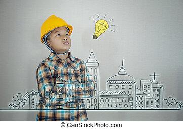 男の子, わずかしか, 都市, に対して, 創造的, 工学, アジア人, future., 図画, 計画