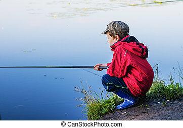 男の子, わずかしか, 釣り