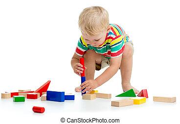 男の子, わずかしか, 隔離された, 背景, おもちゃ, 白, 遊び