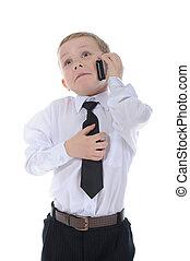 男の子, わずかしか, 電話。, 話し