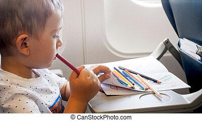 男の子, わずかしか, 飛行, かわいい, copybook, 長い間, 肖像画, の間, 飛行機, 図画