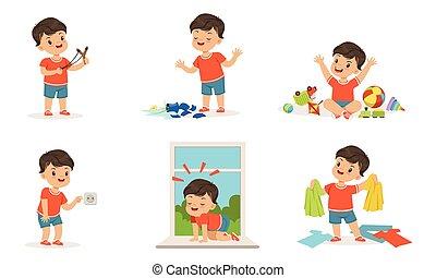 男の子, わずかしか, bully, ベクトル, 白, ひどく, ギャング, イラスト, コレクション, 朗らかである, 子供, かわいい, 背景, 子供, 行動