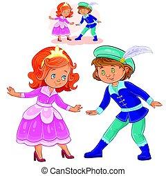 男の子, わずかしか, costumes., 服を着せられる, 期間, イラスト, ベクトル, 女の子