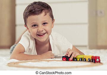 男の子, わずかしか, floor., おもちゃ, 愛らしい, 遊び, あること