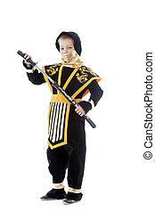 男の子, わずかしか, katana, ポーズを取る, 衣装, ninja