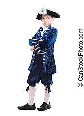 男の子, わずかしか, musketeer, ポーズを取る, 衣装