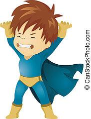 男の子, わずかしか, superhero, 何か, 持ち上がること, 子供