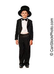 男の子, わずかしか, tuxedo., 隔離された