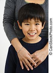 男の子, アジア人, 母