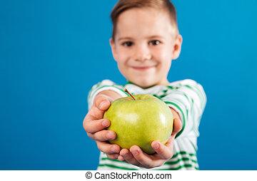男の子, アップル, 寄付, イメージ, 若い, カメラ, 微笑