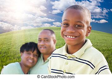 男の子, アメリカ人, ハンサム, 親, アフリカ