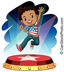 男の子, アメリカ人, 跳躍, の上, ステージ