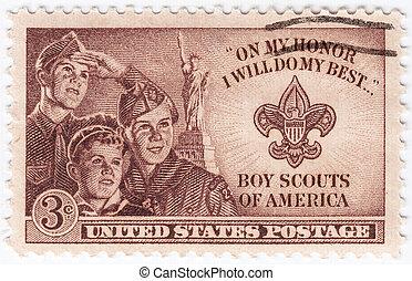男の子, :, アメリカ, ショー, 切手, -, アメリカ, 印刷される, 1953, 偵察者, ∥ころ∥