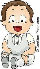 男の子, イラスト, スーツ, 赤ん坊, 洗礼, よちよち歩きの子, 子供