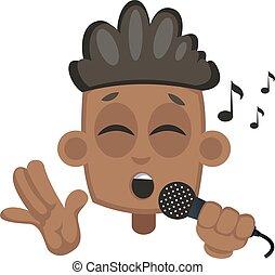 男の子, イラスト, バックグラウンド。, ベクトル, 白, 歌うこと, マイクロフォン