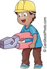 男の子, イラスト, 建設, 黒, プライヤー, 子供