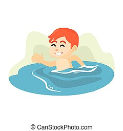 男の子, イラスト, 水泳