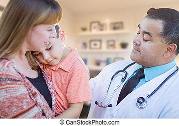 男の子, オフィス, 医者, 訪問, 若い, ヒスパニック, 病気, 母