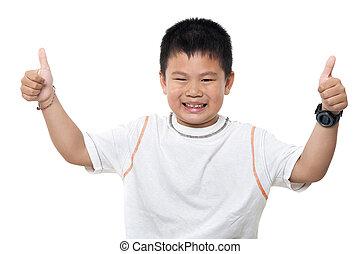 男の子, 「オーケー」, アジア人