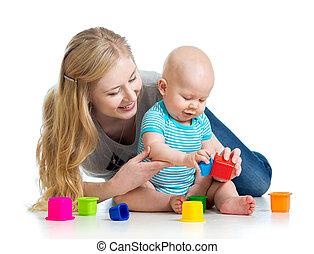 男の子, カップ, 母, 一緒に, おもちゃ, 遊び, 子供