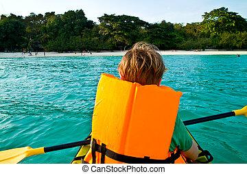 男の子, カヌー, 西, かい, 海洋, 安全