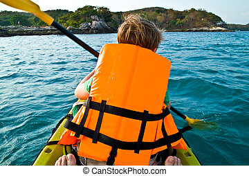 男の子, カヌー, 西, 海洋, 安全, かいで漕ぐ