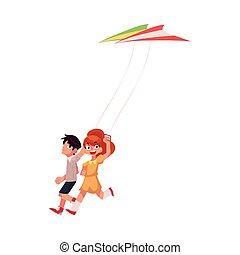 男の子, カラフルである, 2, 一緒に, 動くこと, 女の子, 友人, 凧