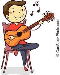 男の子, ギター, スティック, 音響, 遊び, 子供