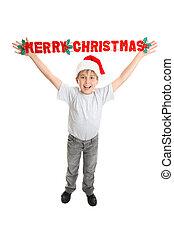 男の子, クリスマス, 陽気, 印