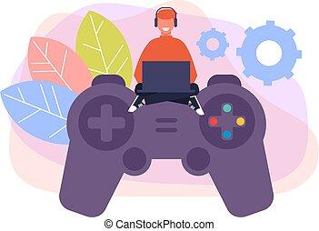 男の子, グラフィック, コンピュータ, ギャンブル, concept., 特徴, 平ら, pad., ゲーム, ベクトル, デザイン, イラスト, 遊び, 漫画, 人