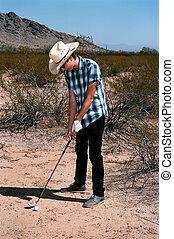 男の子, ゴルフをすること, 若い, 砂漠