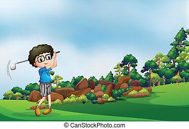 男の子, ゴルフ, 遊び, 森林