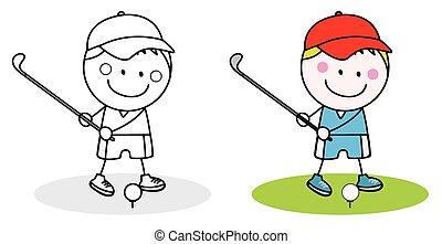 男の子, ゴルフ, 遊び