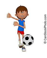 男の子, サッカーボール, 漫画, 3d