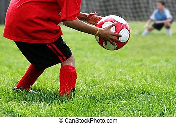 男の子, サッカー, 遊び