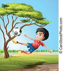 男の子, サッカー, 遊び, 道