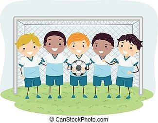 男の子, サッカー, stickman, 子供