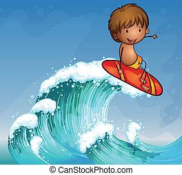 男の子, サーフィン, 波