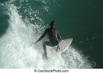 男の子, サーフィン, 若い