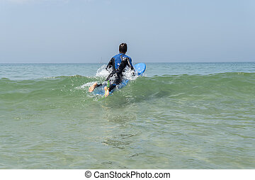 男の子, サーフィン, 若い, 海
