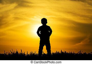 男の子, シルエット, 日没