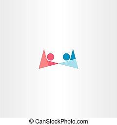 男の子, シンボル, 手を持つ, ロゴ, 女の子, 抽象的