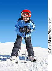 男の子, スキーをする