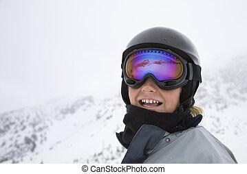 男の子, スキーヤー, trails., スキー