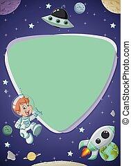 男の子, スクリーン, 宇宙飛行士, 板, 漫画, 未来派