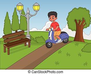 男の子, スクーター, 公園, 乗馬