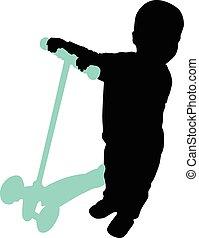 男の子, スクーター, 回転する