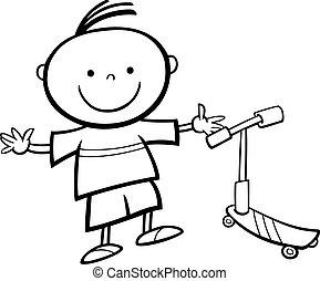 男の子, スクーター, 着色, ページ, 漫画